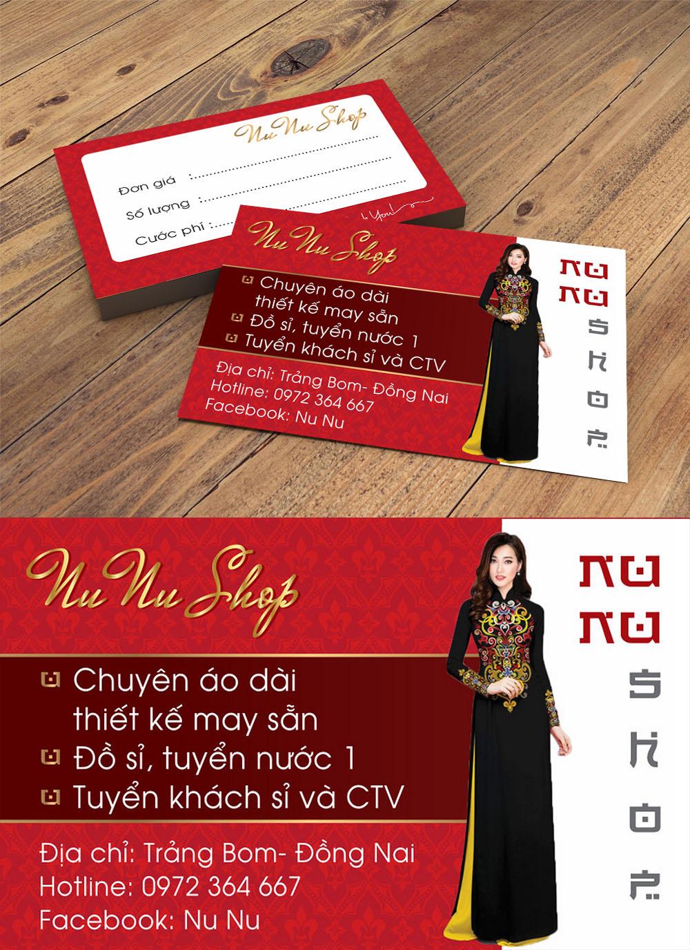 Mẫu danh thiếp namecard nunu shop áo dài
